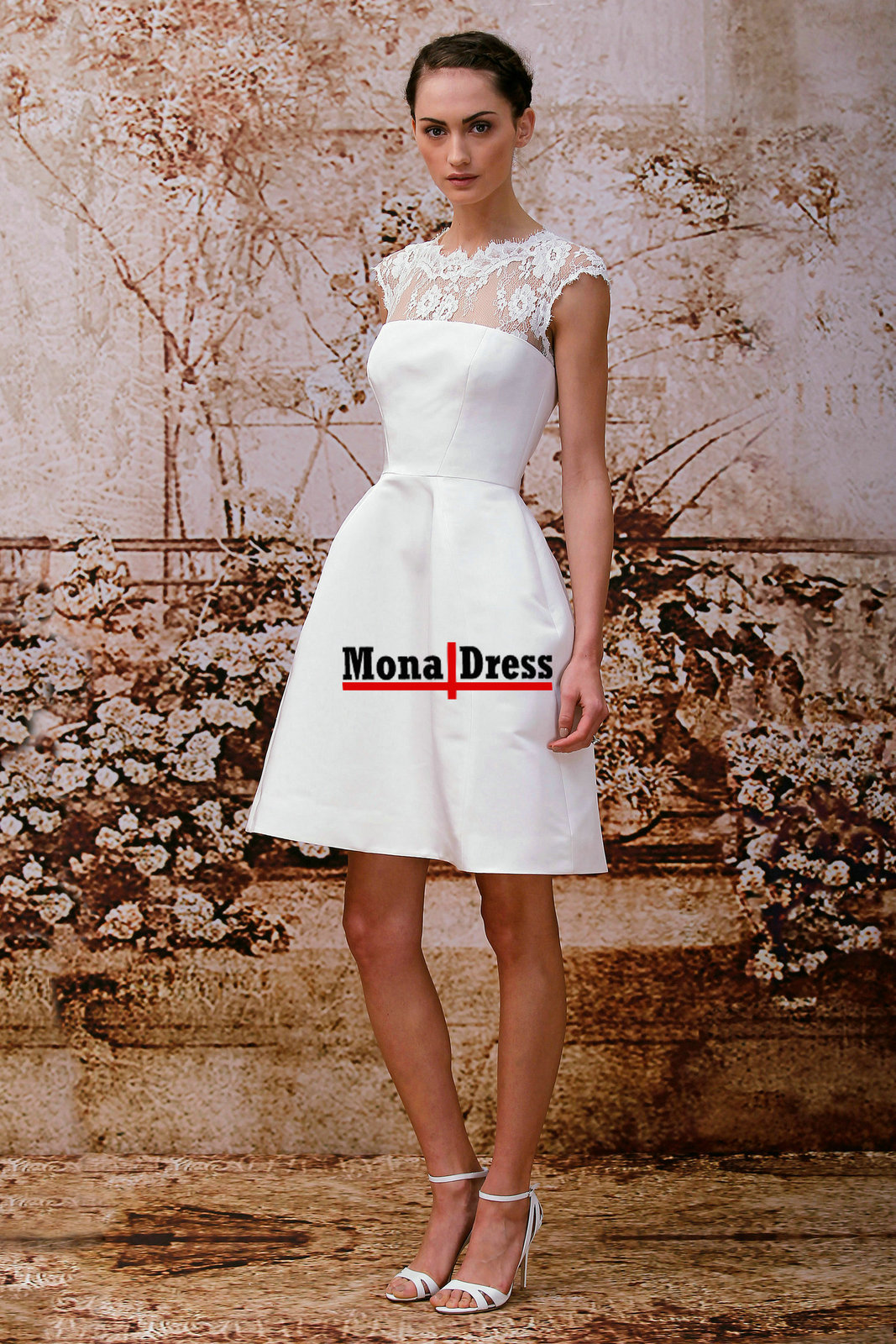 Modest junior white lace short ball gown prom dress