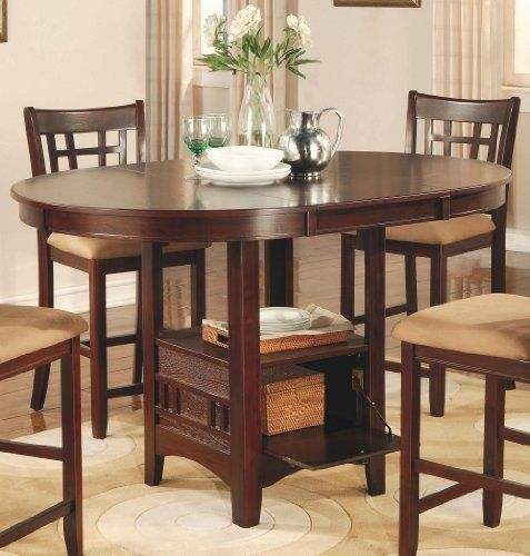 dining table dark cherry finish dinner pub style room storage dining