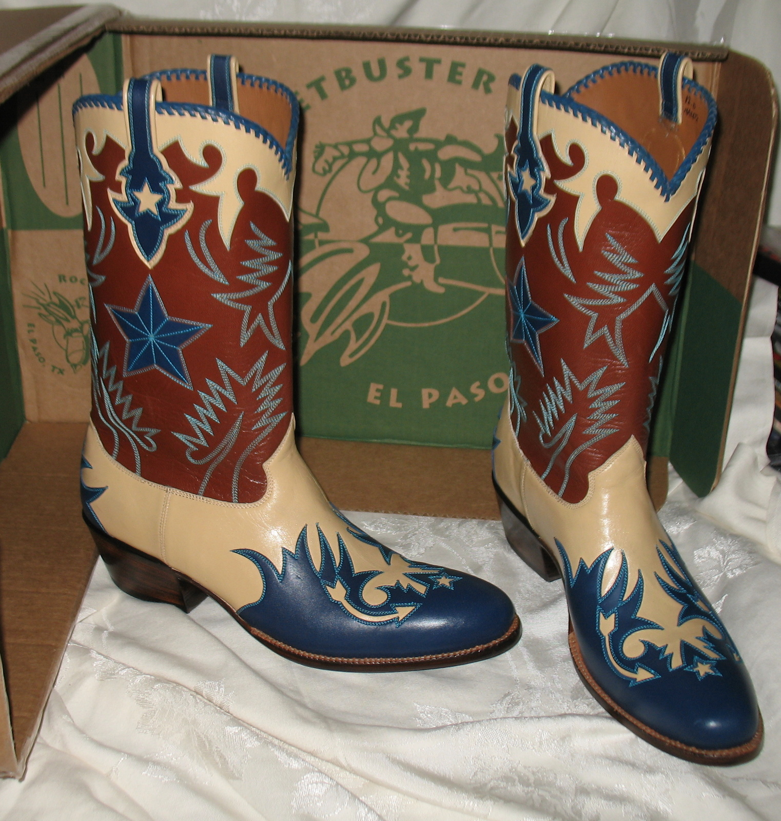 Cowboy Boot Makers ~ Rocketbuster custom made leather cowboy boots w nib