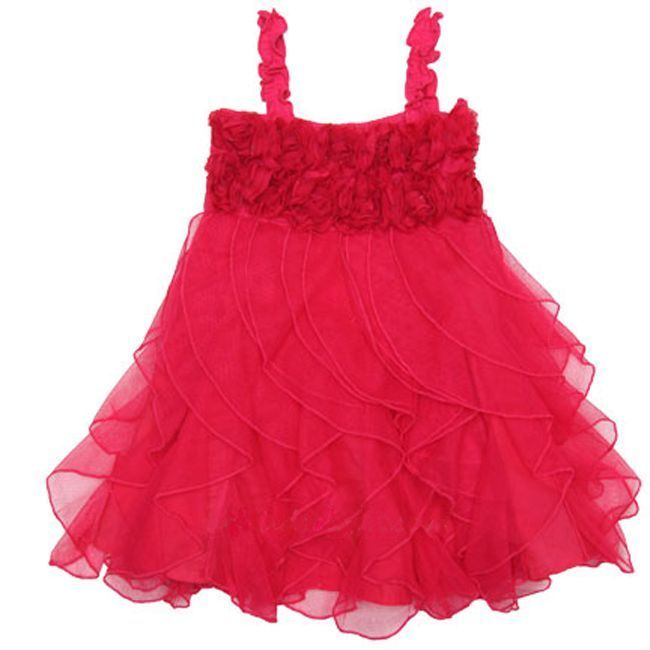 Image 3 of Fun Flirty Precious One Posh Kid Cascading Ruffles Tulle Dress, Fuchsia or Aqua