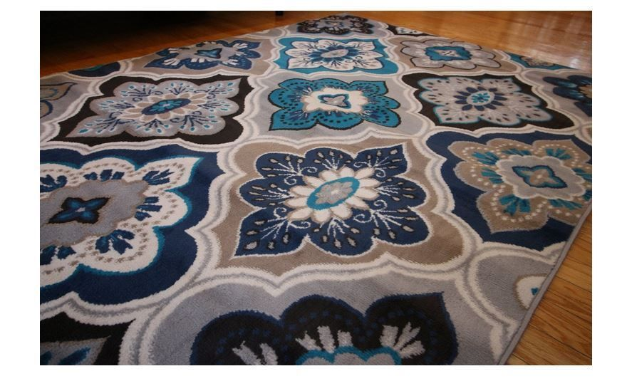 New 5x7 Blue Beige Coral Navy Grey Throw Rug Navy Living