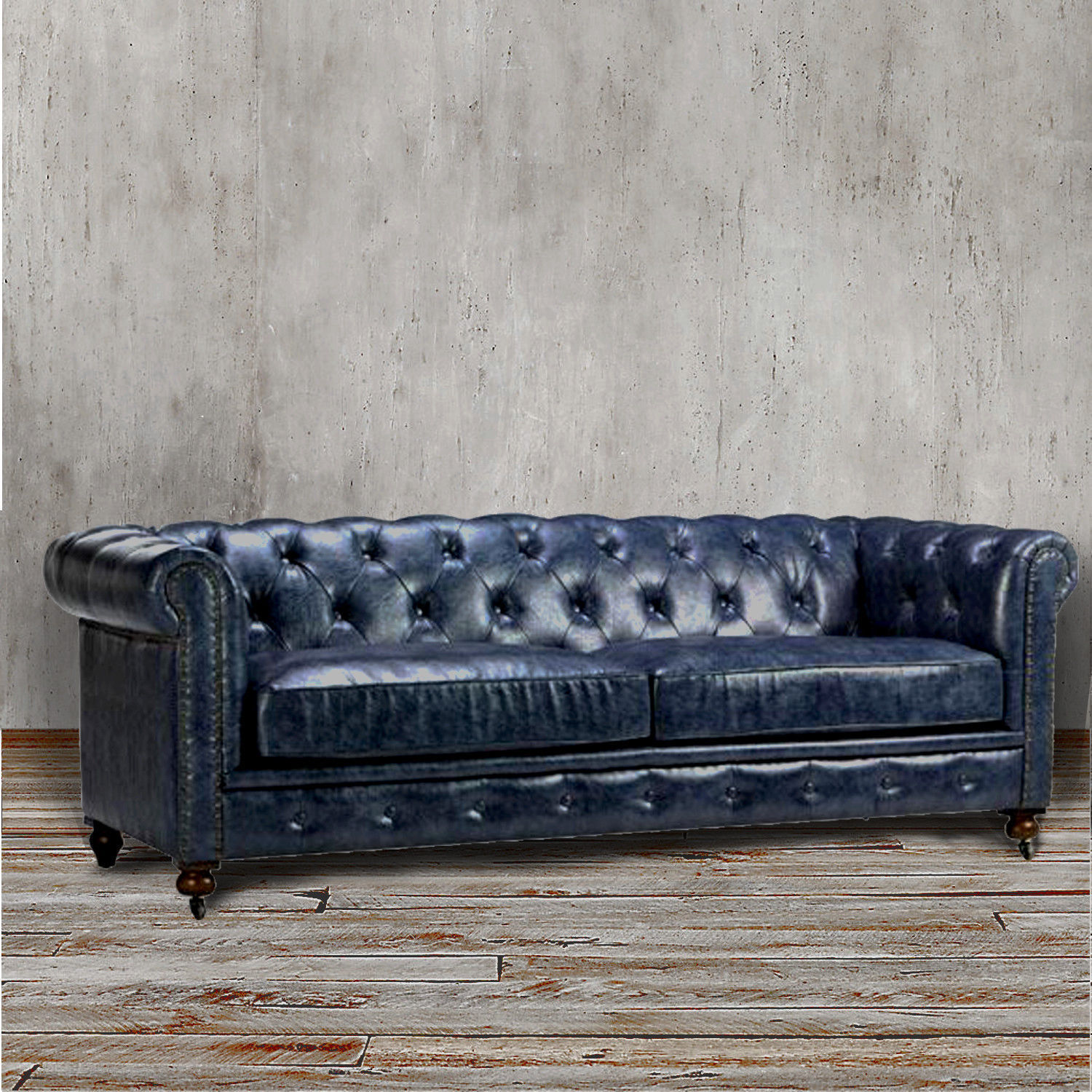 Blue leather chesterfield sofa at 1stdibs - Previousnext Previous Image Next Image Vintage Steel Blue Leather Chesterfield Sofa At 1stdibs