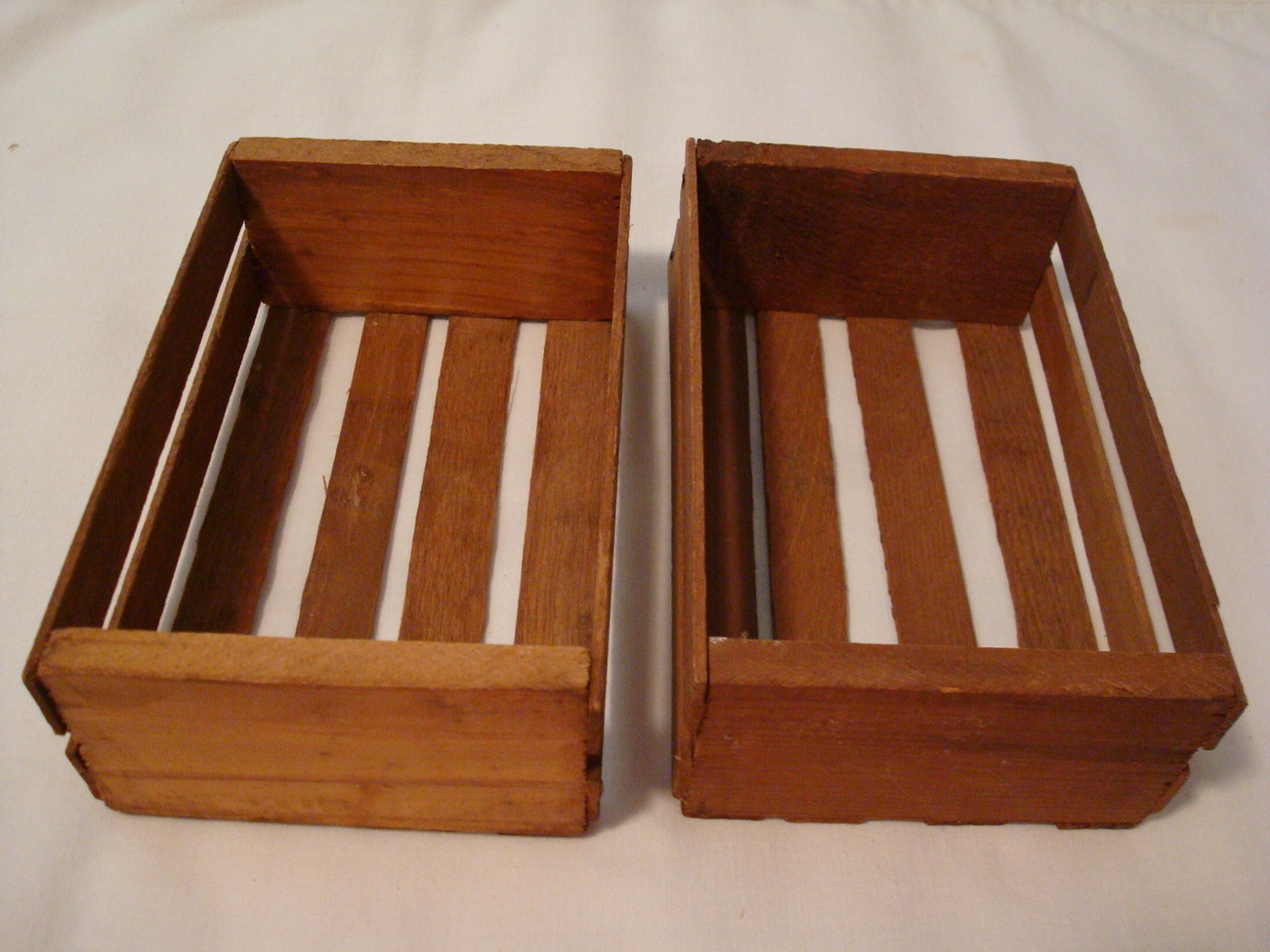 2 Small Slatted Wooden Boxes Containers for Display, Crafts, Storage, Decoration