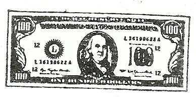$100 Bill dollars rubber stamp Bonanza