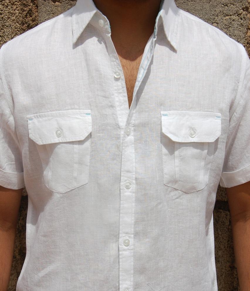 Beach linen shirt short sleeve two pocket casual shirts for Short sleeve linen shirt