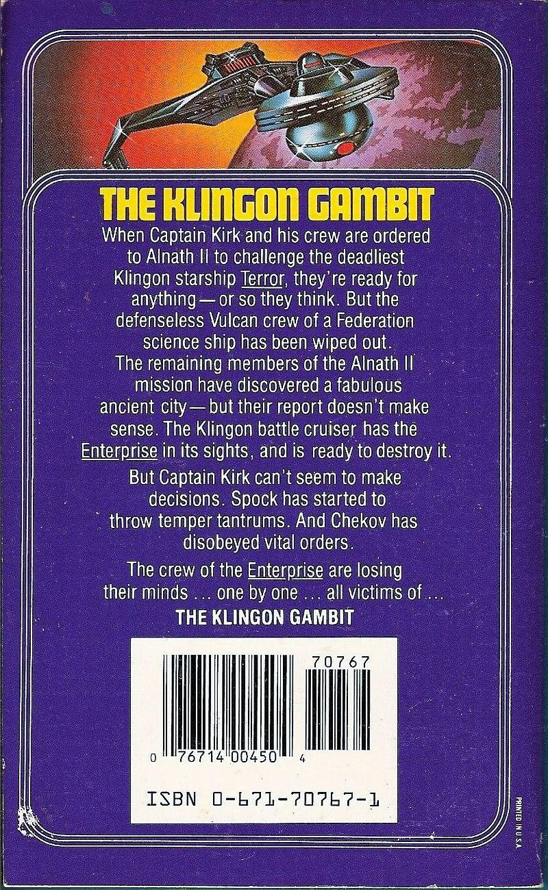 Image 1 of The Klingon Gambit Star Trek Original Series No 3 by Robert Vardeman
