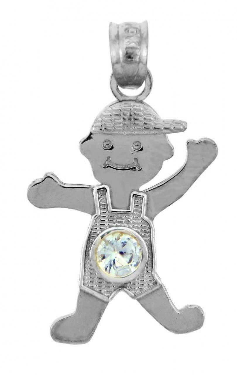 Birthstone light blue cz baby boy charm pendant necklaces amp pendants