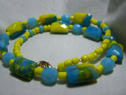 Yellow turquoise blue faceted marble glass 16 inch necklace Bonanza