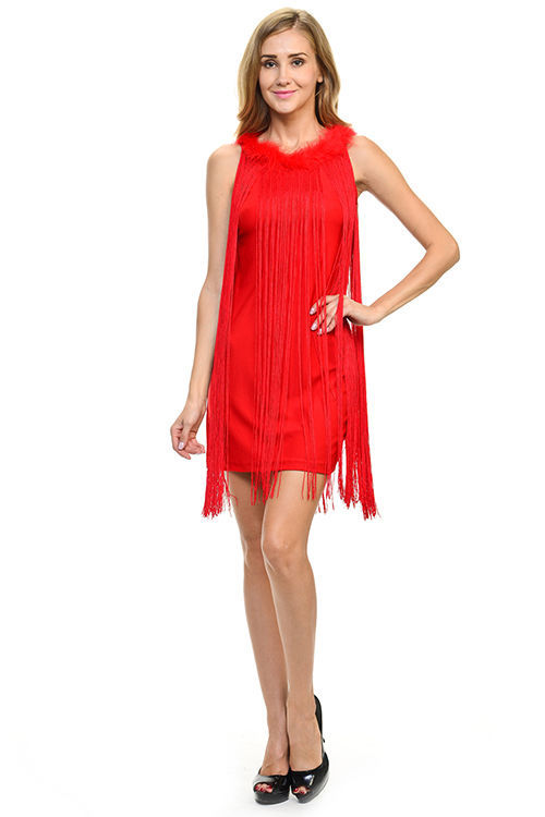 Image 2 of Sexy Jrs Fringe Royal Blue or Red Lined Party Mini Dress Faux Fur Collar S, M, L