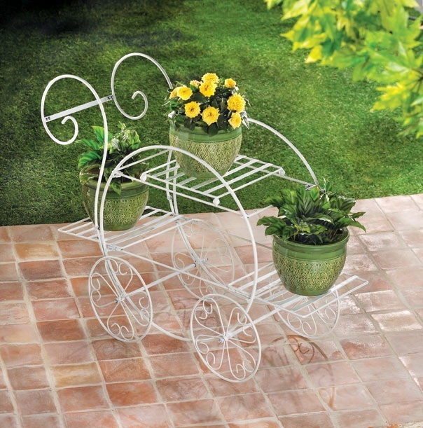 White Plant Stand Indoor Outdoor French Flower Pot Metal Cart Rack Shelf
