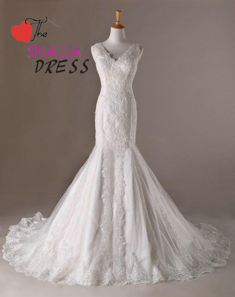 Train long wedding dress mermaid with