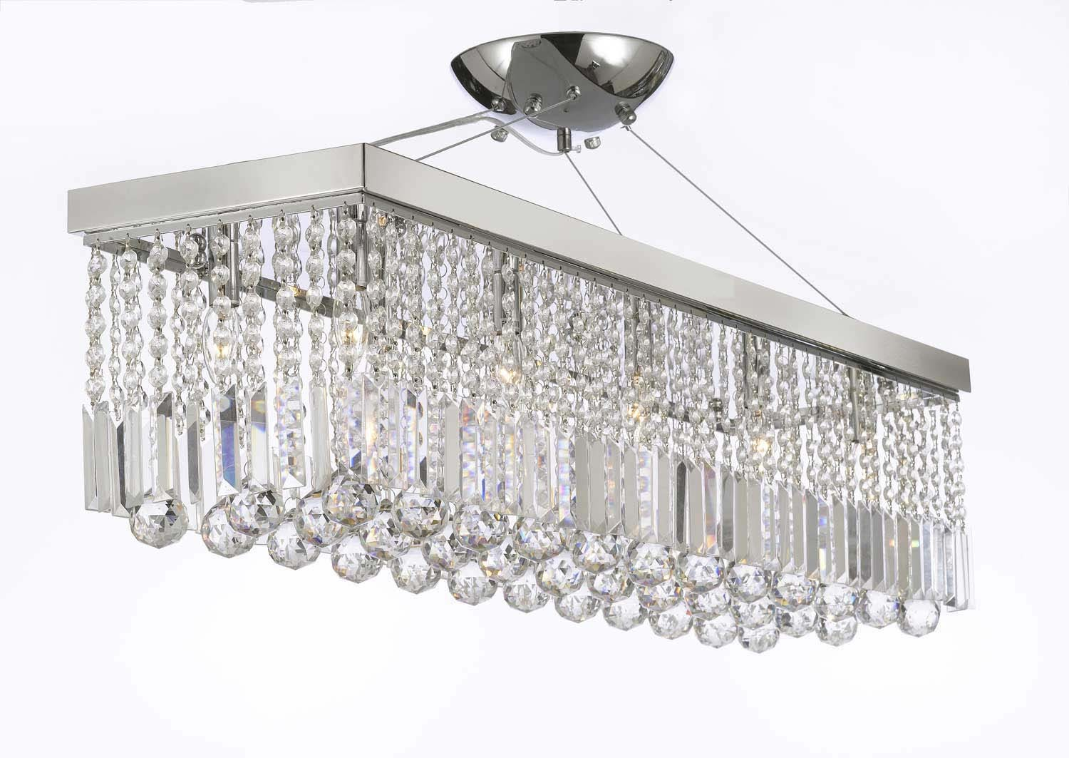 10 light 40 contemporary crystal chandelier rectangular for Contemporary chandeliers amazon