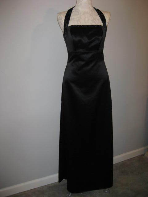Eden Maids Black Beaded & Sequin Gown Size 5/6 NEW