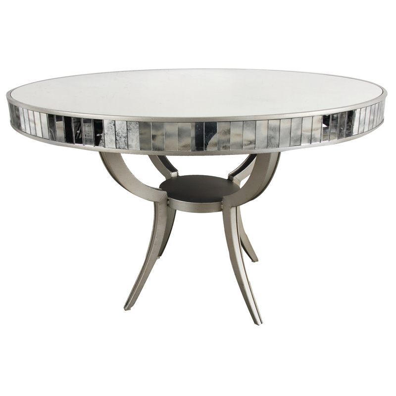 Modern round metal glass dining room table 48 39 39 d x 32 39 39 h for Dining room tables 48 round