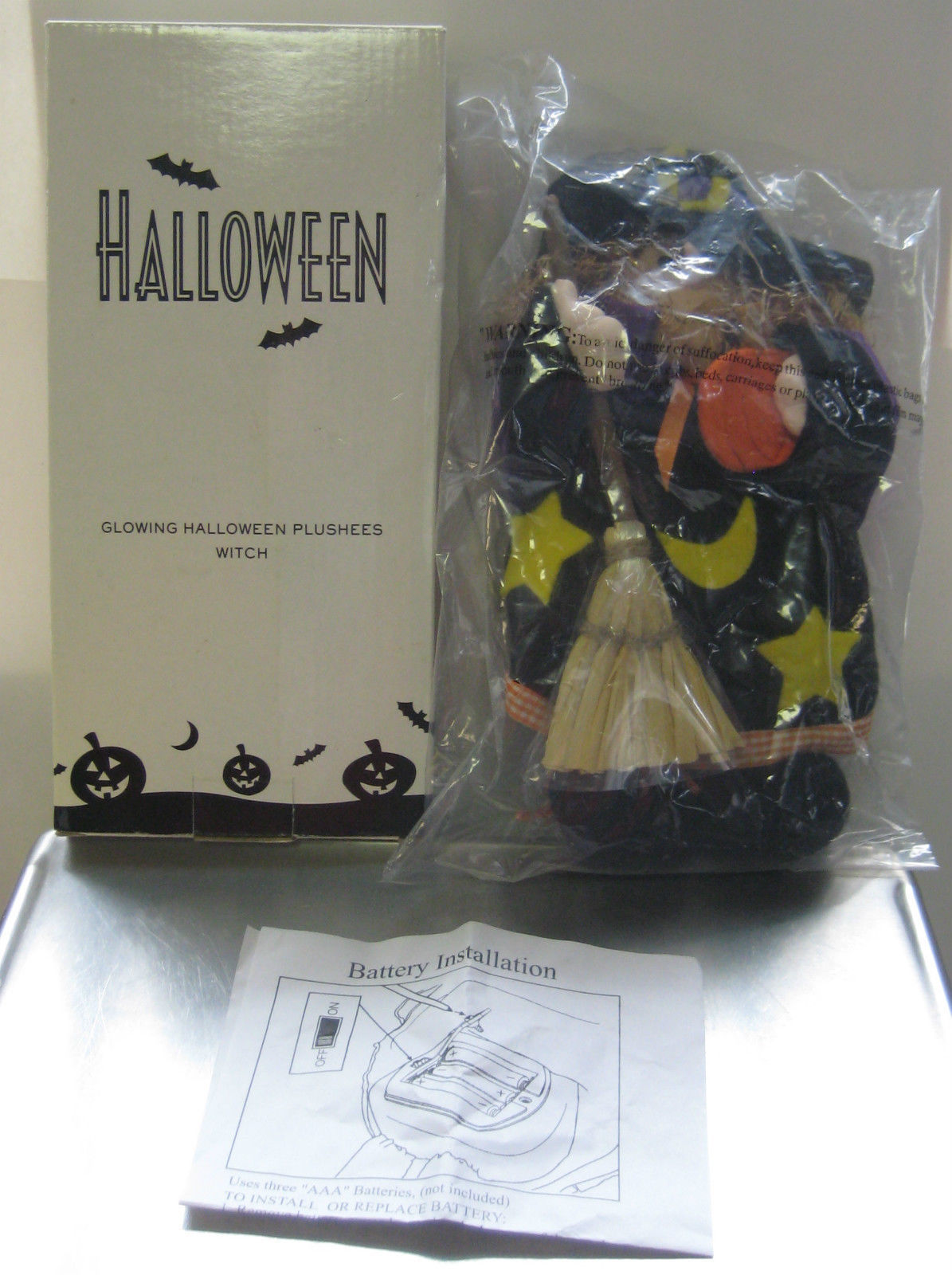 Fiber optic glowing halloween plushees witch new old stock for Fiber optic halloween decorations home