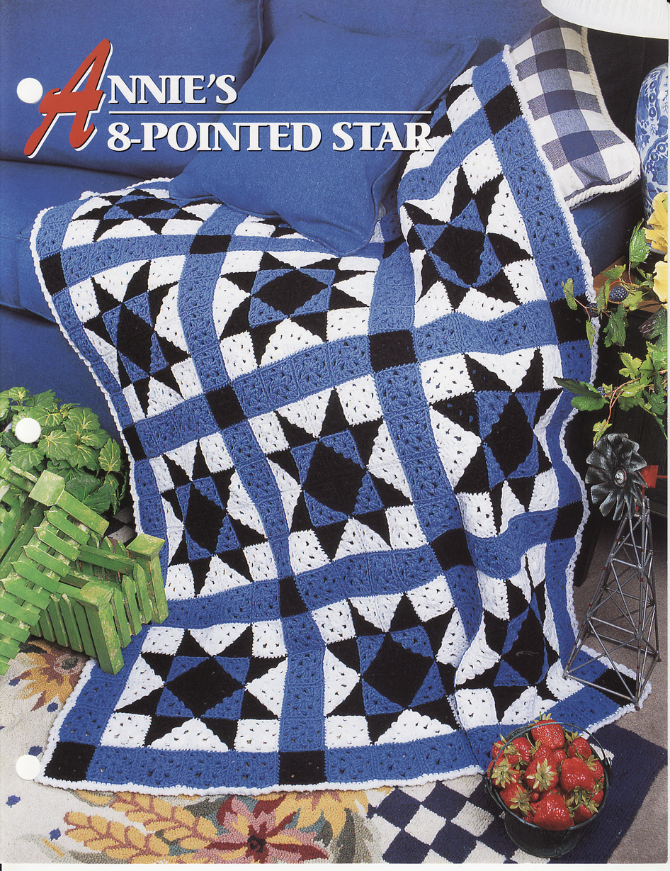 Annies 8 Pointed Star Afghan Crochet Pattern Blanket ...