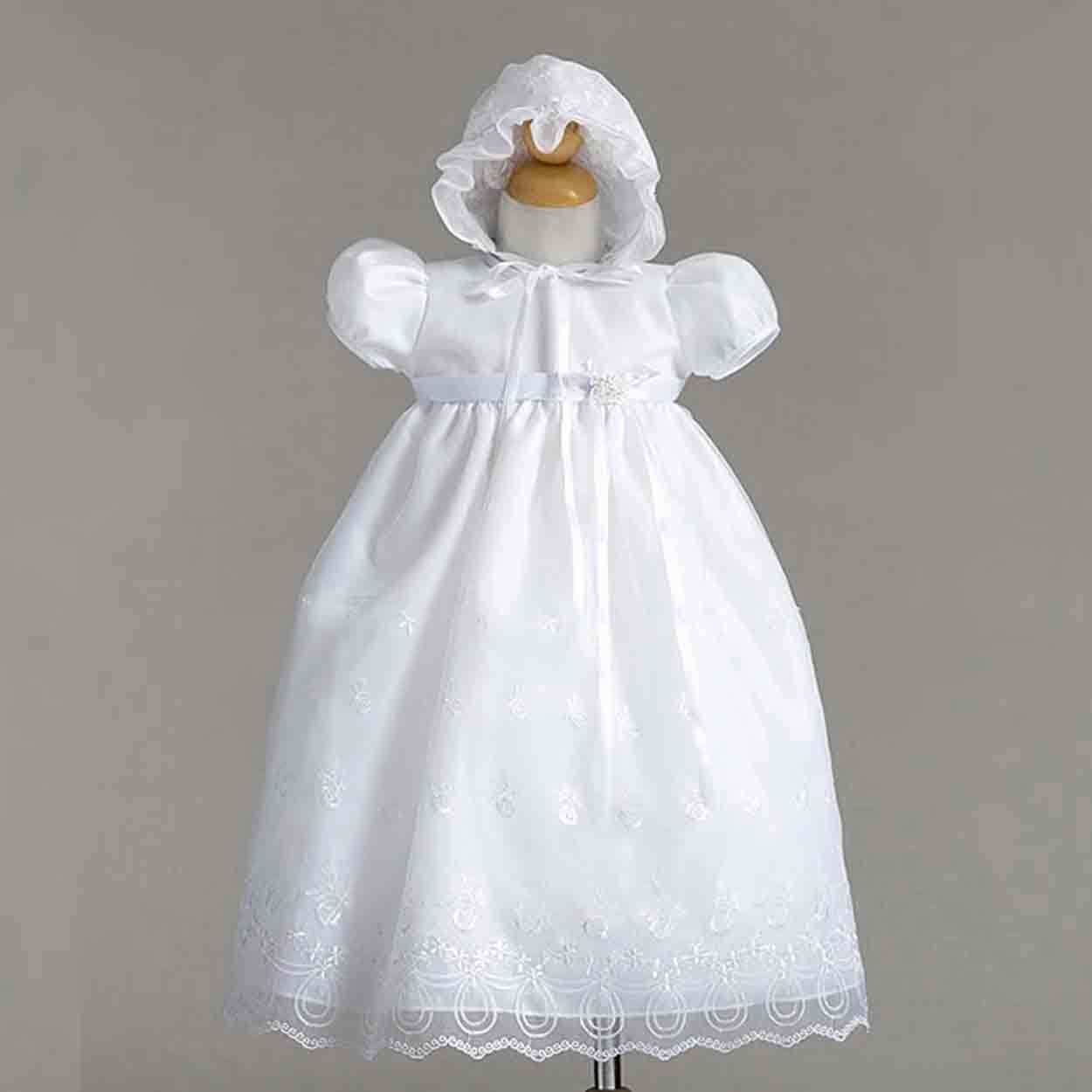 Image 0 of Gorgeous Lace Baby Girl Christening Dress Hat Set, Crayon Kids USA - White - Pol