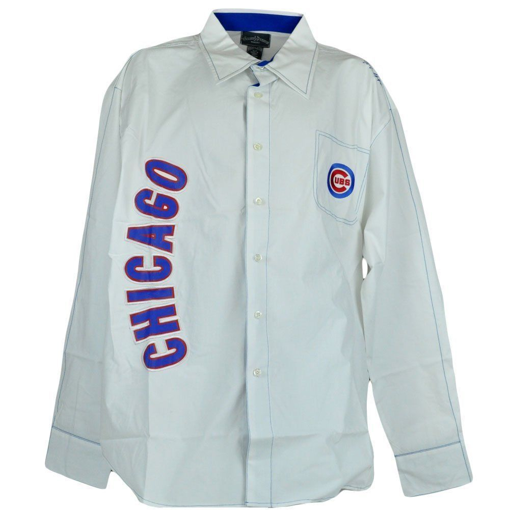 Chicago Cubs Mens Mlb W D White Long Sleeve Button Up