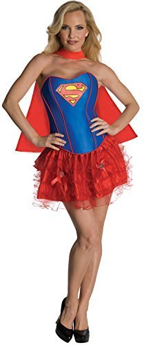Image 0 of Secret Wishes DC Comics Supergirl Corset And Tutu Costume, Red/Blue, S, M, L