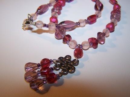 Raspberry grape purple pink glass pendant 17inch Necklace Bonanza