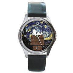 SNOOPY PEANUTS STARRY NIGHT VAN GOGH SILVER-TONE WATCH