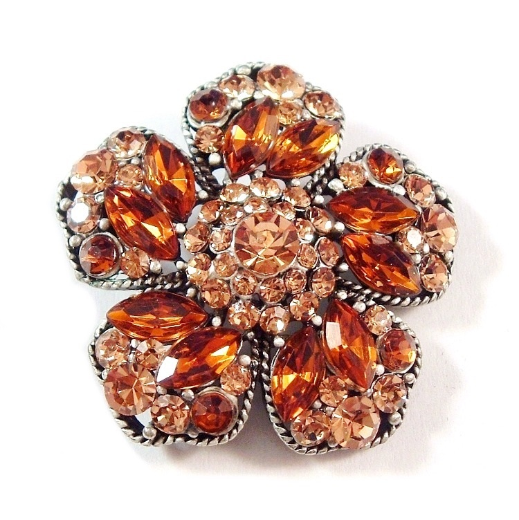 Flower Pin Brooch Champagne Topaz Brown Crystal Multicolor Silver Tone Metal
