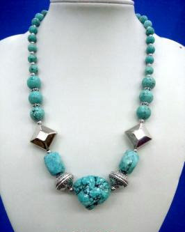 Turquoise  Nugget N Chunky Necklace # 10 Bonanza