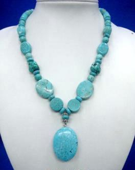Turquoise Bits N Pieces Pendant Necklace  # 3 Bonanza