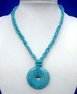 Turquoise Rope Pendant Necklace # 5 Bonanza