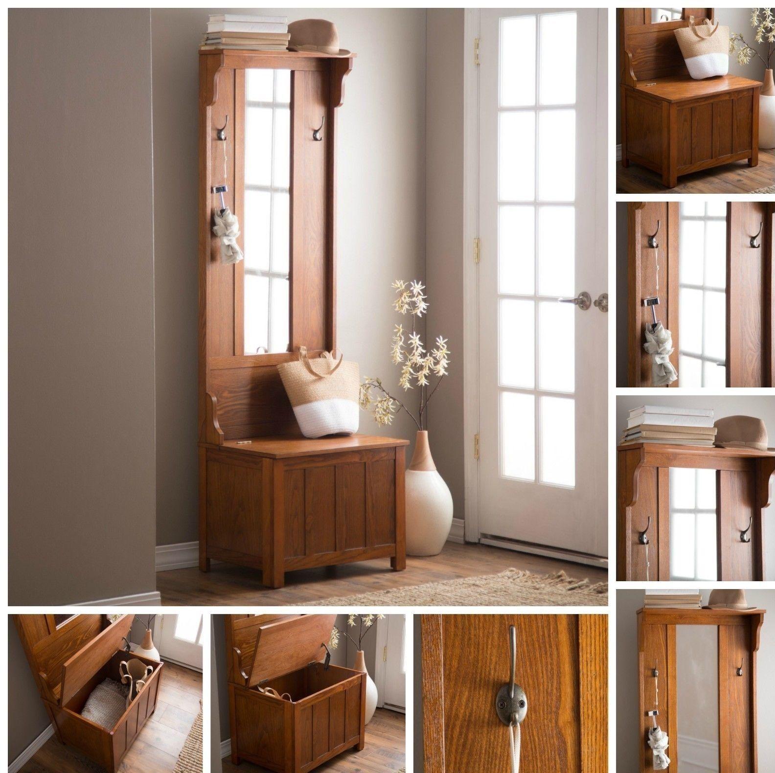 Wooden Brown Slim Hall Tree Storage Furniture Bench Mirror