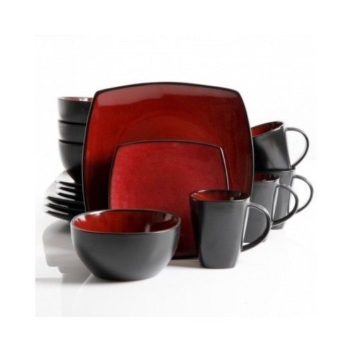 Stylish Square Dinnerware 16 Piece Set Red Black Plates Bowls Mugs Dinner Tab