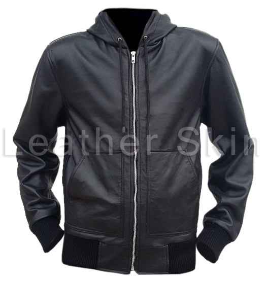 booth » Leather Skin Men Black Hooded Hoodie Genuine Leather Jacket