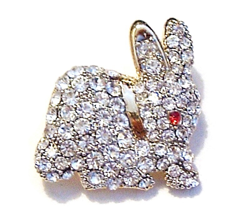 Easter Bunny Rabbit Pin Brooch Clear Austrian Crystal Red Eye Gold Tone Metal no brand