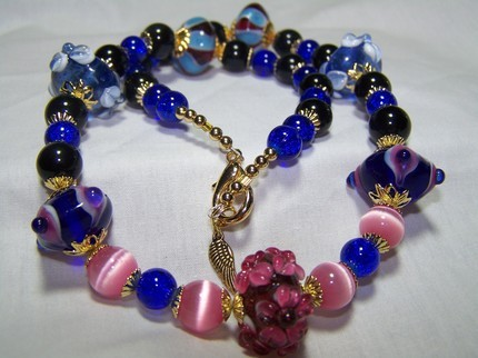 Flower geo catseye 20 1/2inch lampwork glass gold necklace Bonanza