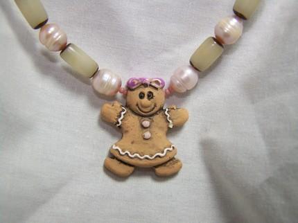 Gingerbread girl pink ceramic buri pearl holiday necklace Bonanza