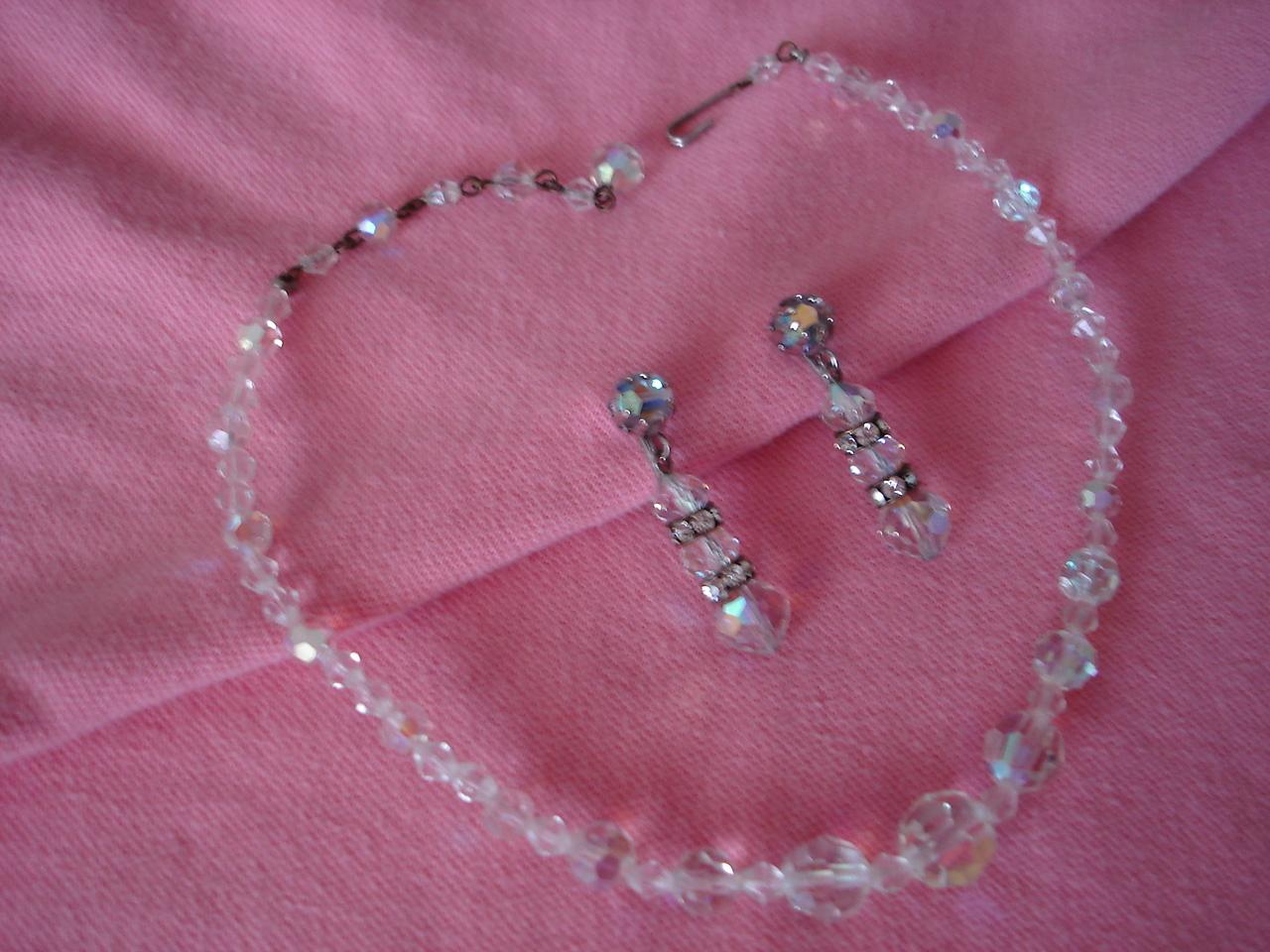 Vintage Aurora Borealis Glass Bead Necklace & Earrings Bonanza