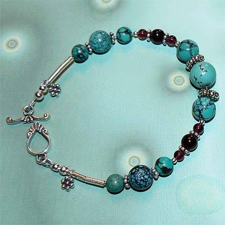 .925 Sterling Silver Turquoise and Garnet Bracelet Bonanza