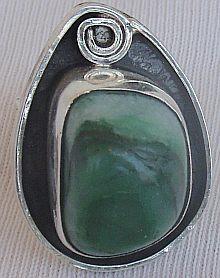 Green glass hand made ring GHM 10  Bonanza