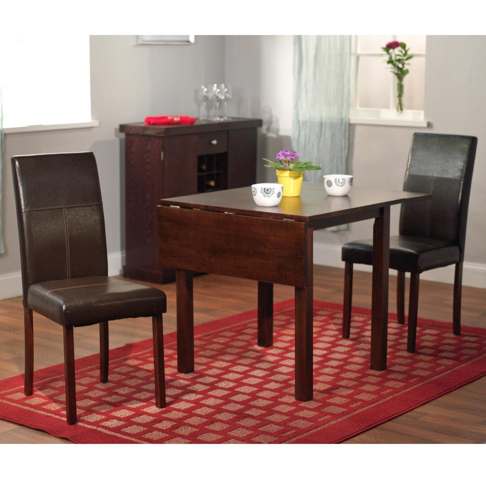 Dining Room Set Wooden Furniture 3 Piece Drop Leaf Table Leather Chairs Compact Dining Sets