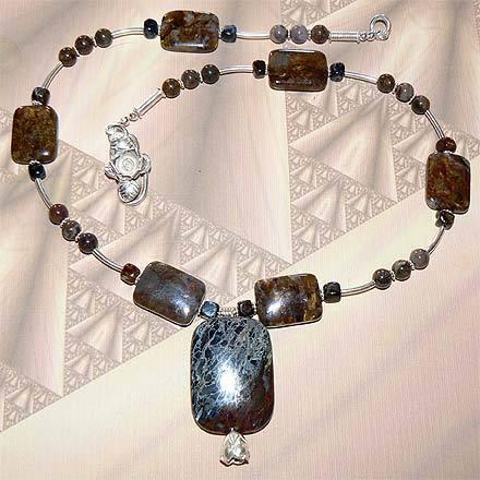 .925 Sterling Silver Pietersite Necklace with Pendant Bonanza