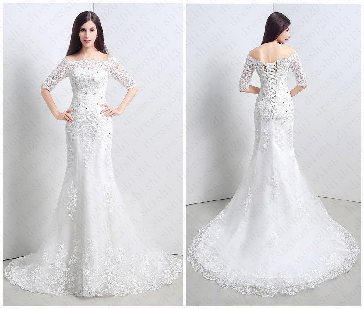Ivory Half Sleeve Corset f Shoulder Mermaid Lace Bridal