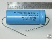 1500uF 50VDC Al Electrolytic Cap CDE P/N 066152U050JP2 Cornell Dubilier