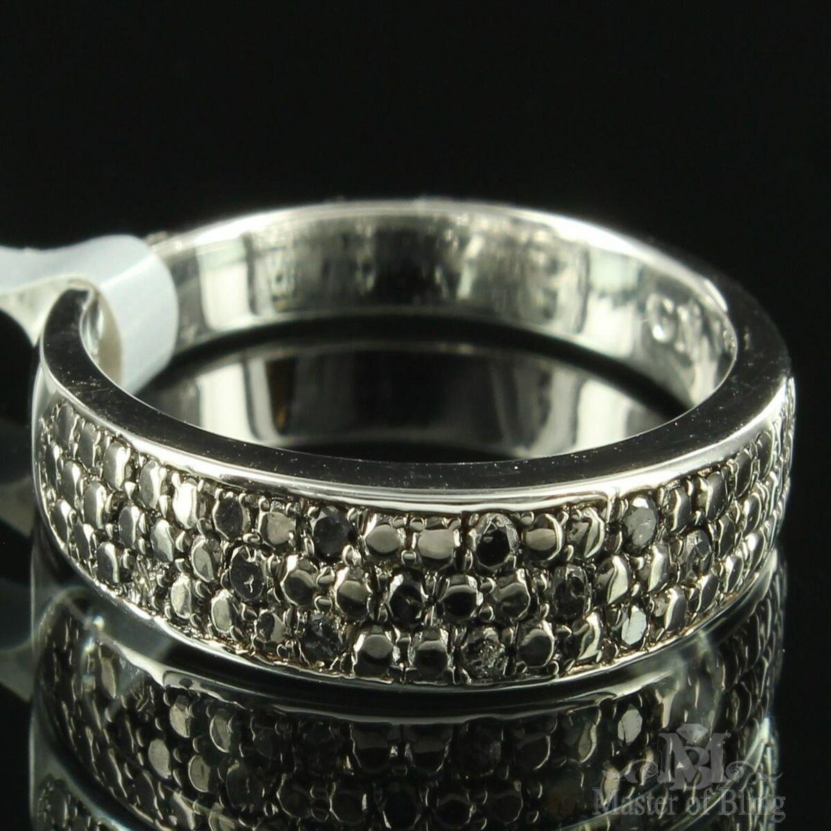 Black Onyx Diamond Ring Womens 3 Row Pave Set Wedding Band Engagement Silver