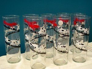 Vintage Libbey Glass Fox and Hound Tumblers Set of 8