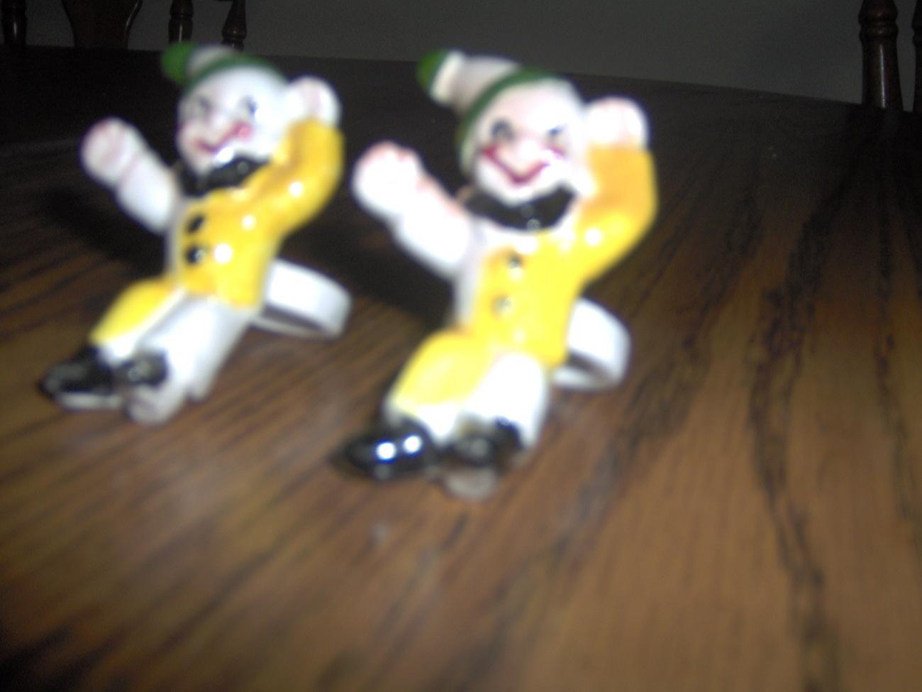 Vintage set of 2 porcelain clown candle rings Bonanza