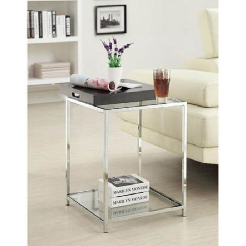 glass end table black tray sofa side tables storage shelf living room