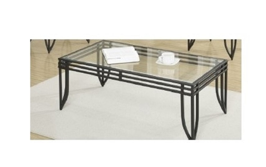 Black metal glass cocktail set 3 pcs living room 2 end tables 1 coffee table tables Black glass side tables for living room