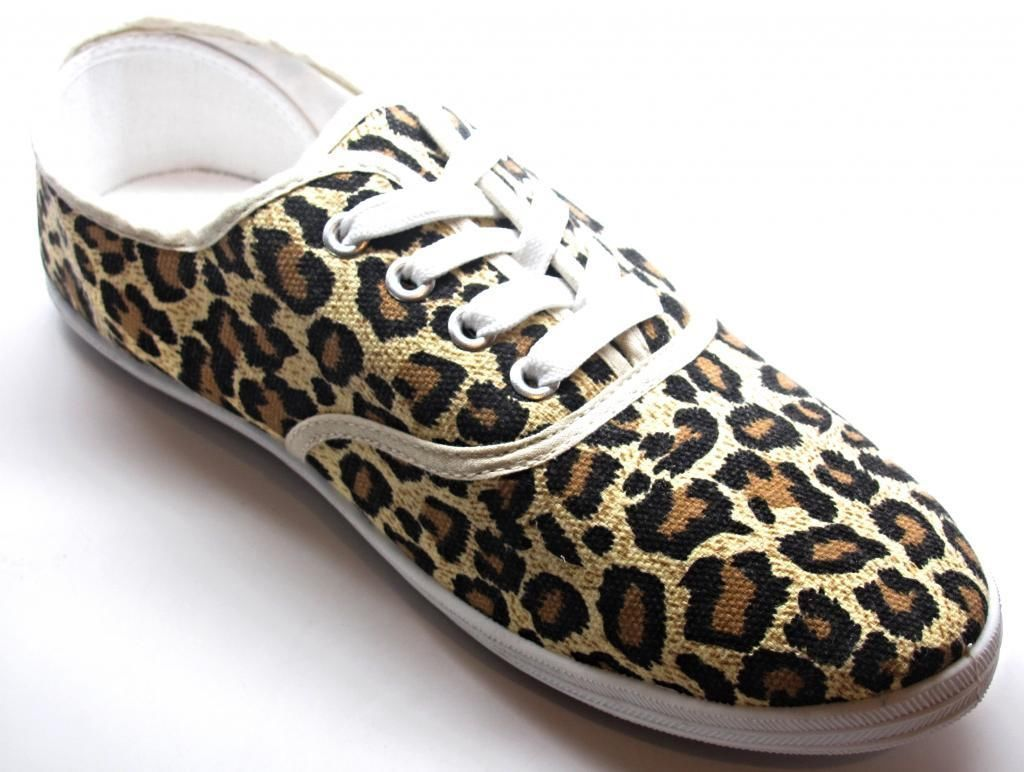 womens leopard animal print canvas lace up sneakers