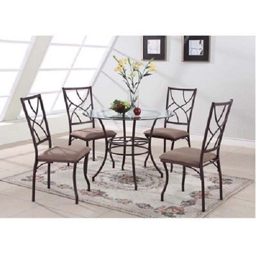 round dining table set contemporary glass top 4 chairs brown