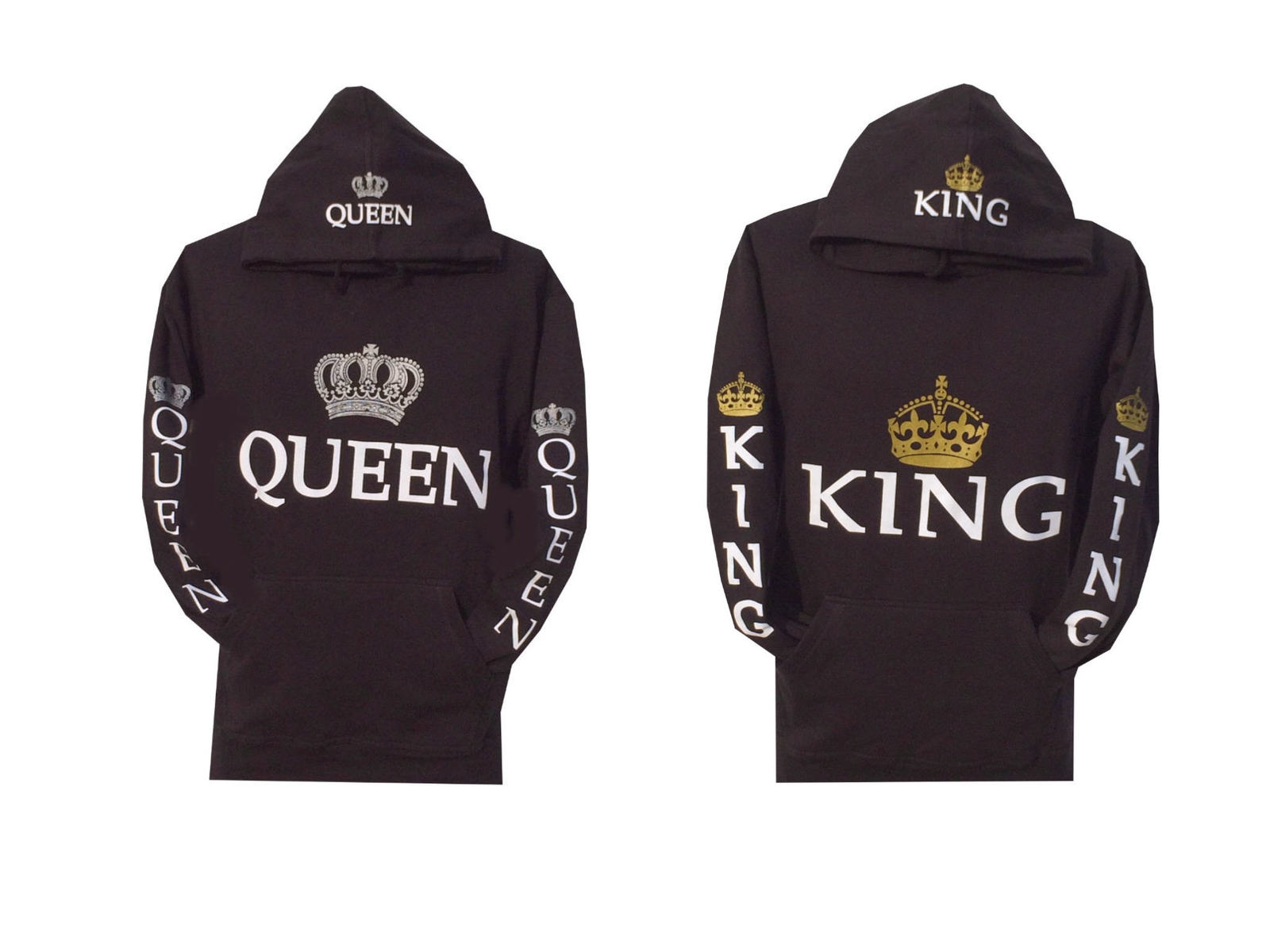 couple matching king and queen hoodie color black hooded. Black Bedroom Furniture Sets. Home Design Ideas
